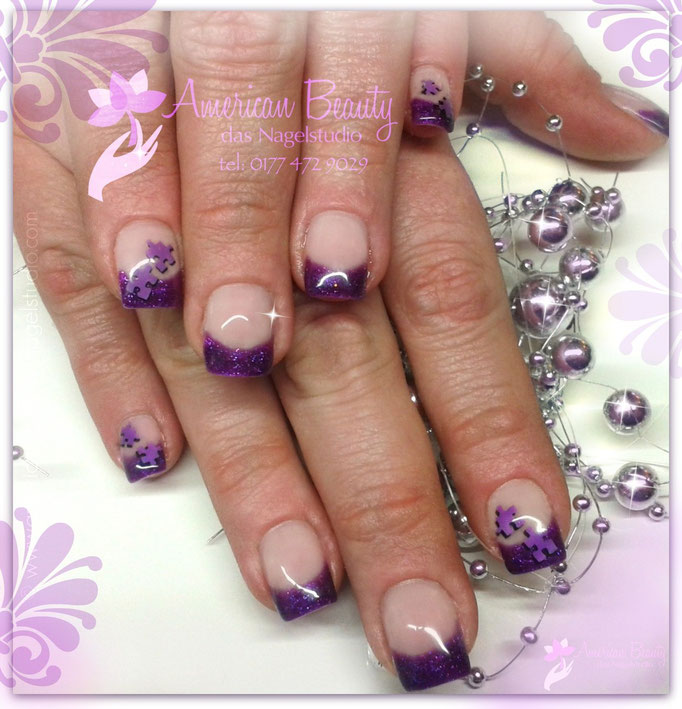 'Purple Puzzle' - Gel Nägel mit Airbrush Design
