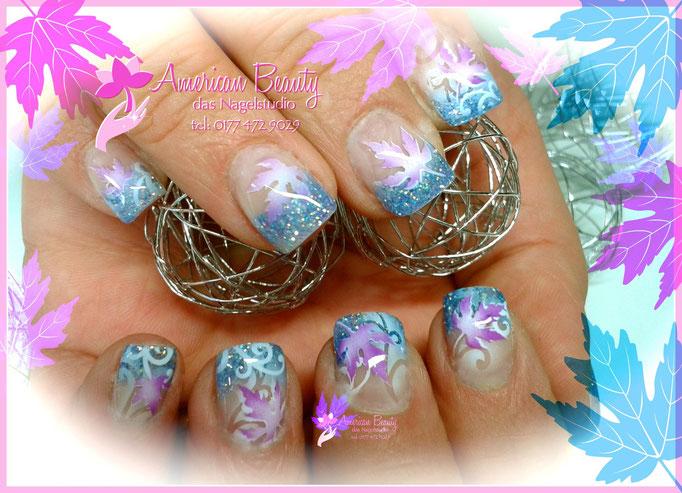 Gel Nägel: Bunte Blätter - Ein bisschen Farbe im Herbst. Airbrush Design