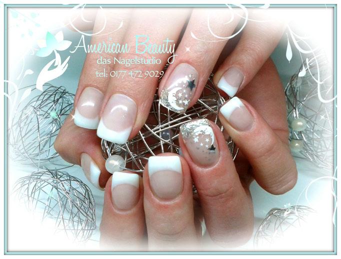 'Mond und Sterne' - Gel Nägel mit Airbrush Design