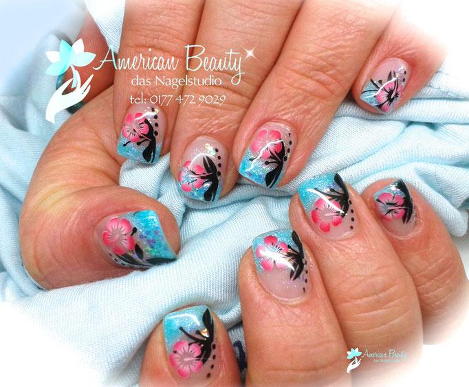 'Ein kleines Stück vom Sommer' - Gel Nägel mit Airbrush Design
