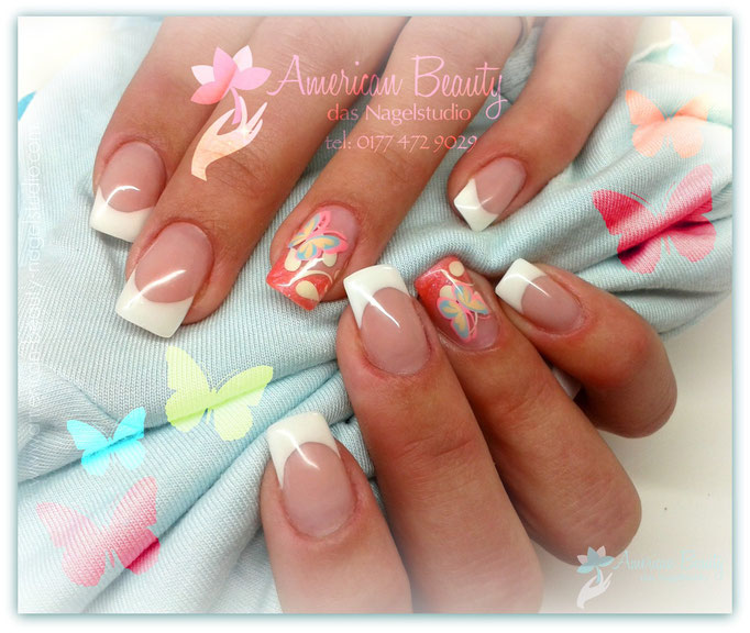 'Springtime Schmetterlinge' - Gel Nägel mit Airbrush Design