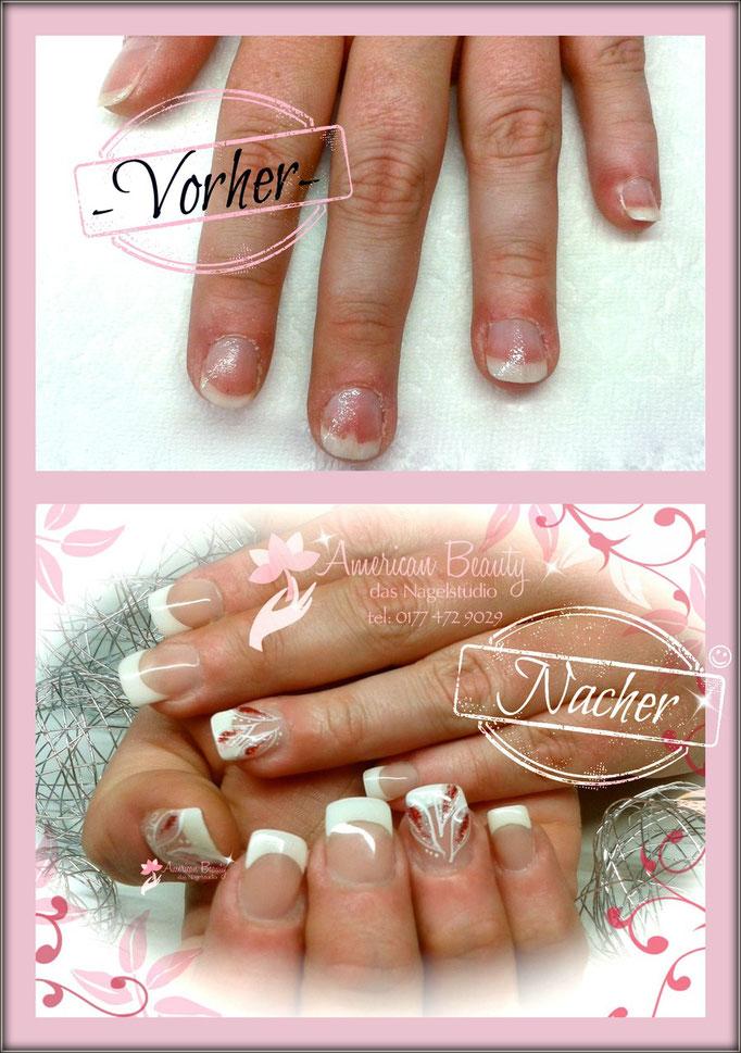 'Vorher & Nacher' - Gel Nägel: Modellage verlängert durch Schablonentechnik mit kleiner Malerei