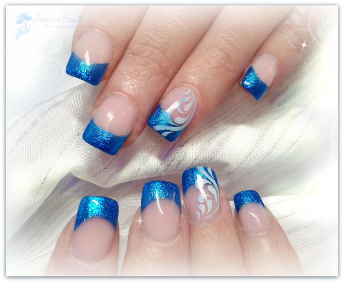 'Sapphire Sparkle' - Gel Modellage mit Airbrush Design