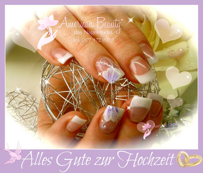 Acryl Modellage: Hochzeits- / Brautnägel in French mit One-Stroke Technik