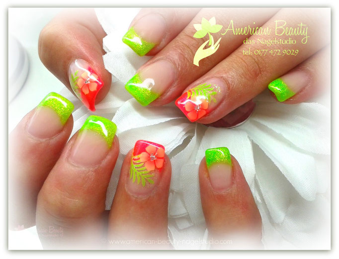 'Tropical Summer' - Gel Modellage mit Airbrush Design