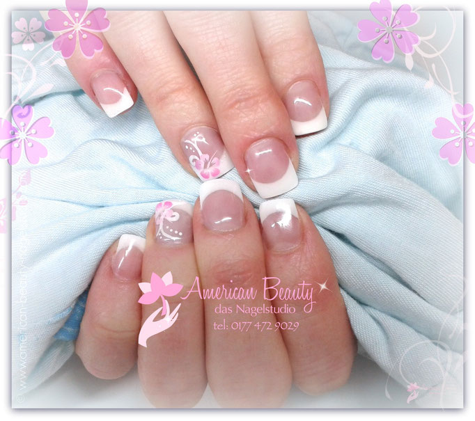 'Frühlings French' - Gel Nägel mit Airbrush Design