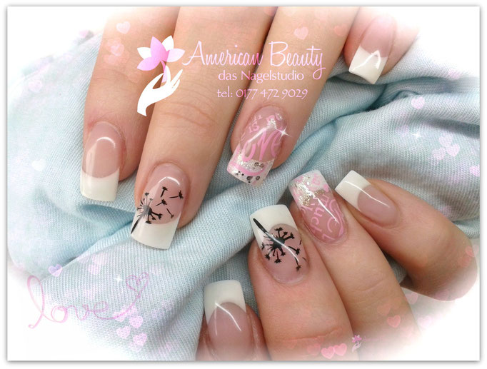 'Love is in the air...' Gel Nägel mit French & Airbrush Design
