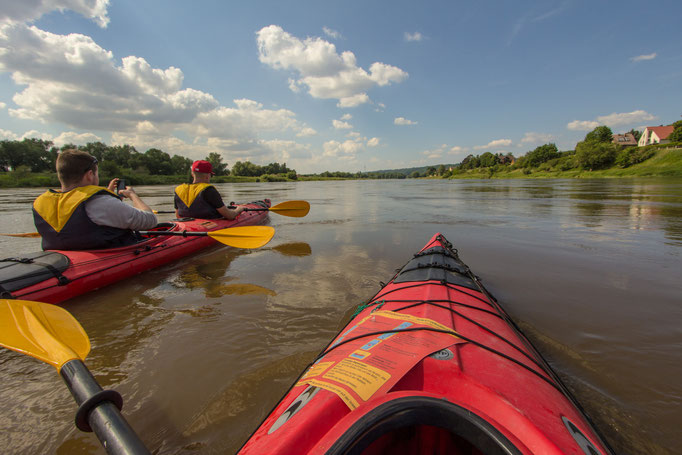 Kayaking on Elbe. 2014.