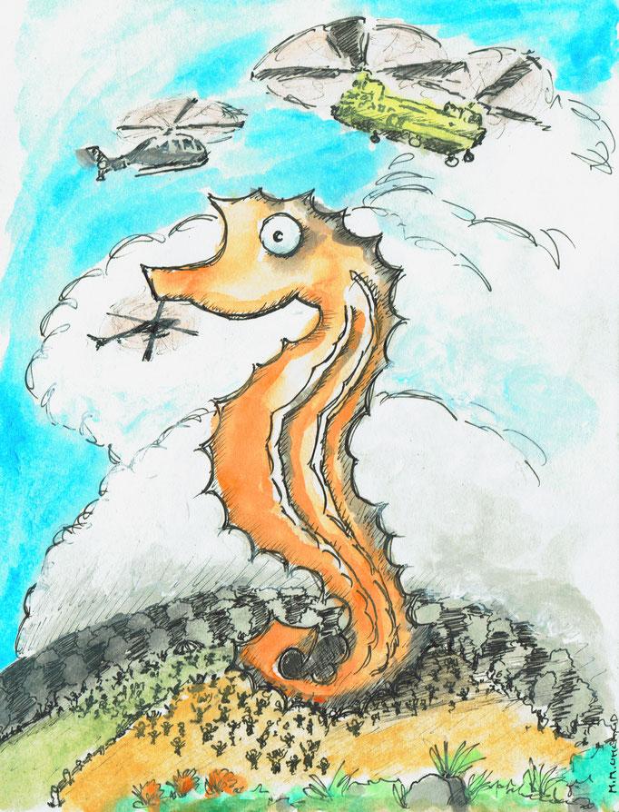 Seepferdchen-Challenge, Fineliner und Tusche, ©Martin M. Uhland