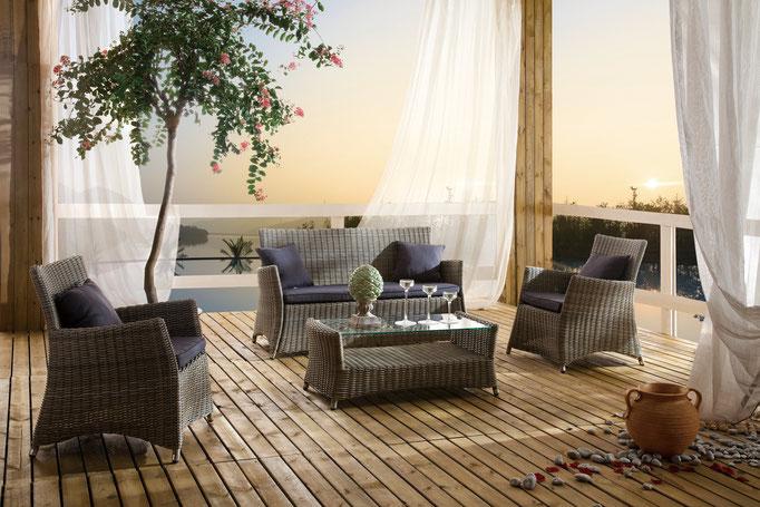 Loungegruppe Kubo | Polyrattan Geflecht auf Alugestell