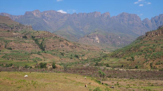 Descente par le Mnweni pass ; Drakensberg ; Afrique du Sud. Voyage Max de nature