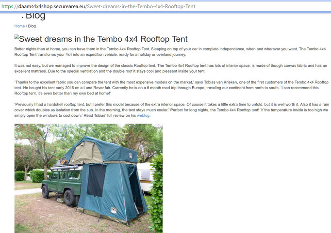 Tembo 4x4 rooftoptent with anex
