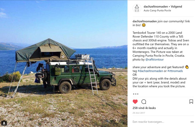Land Rover Defender 110 rooftoptent at the sea in Croatia