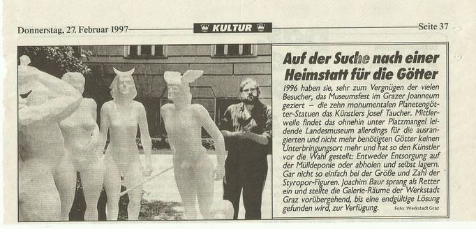 Josef Taucher, Planetengötter, 1997, 10 überlebensgroße Figuren, Styropor, koloriert © Josef Taucher