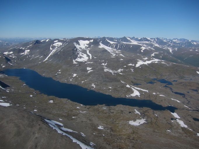 View from the helicopter to Laptavakkjavrre with the Sarek mountains in the background