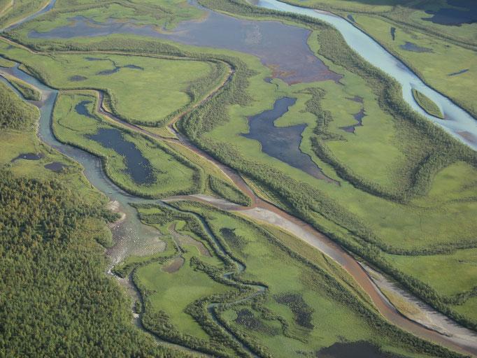 Laitaure Delta, View from Skierffe