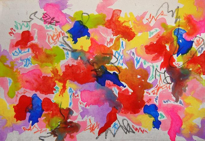 flowers #2 水彩、色鉛筆、麻紙、木製パネル 158×227mm 2019年
