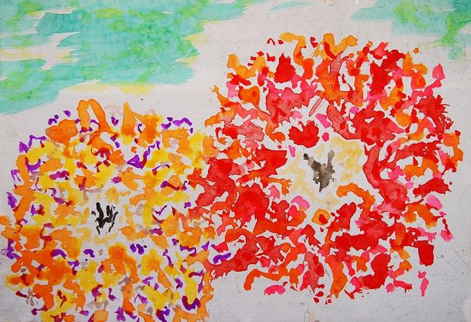 flower #36 水彩、麻紙、木製パネル 158×227mm 2016年