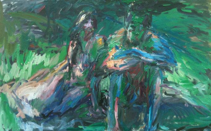 Paar im Garten, 100x160, Öl auf Leinwand