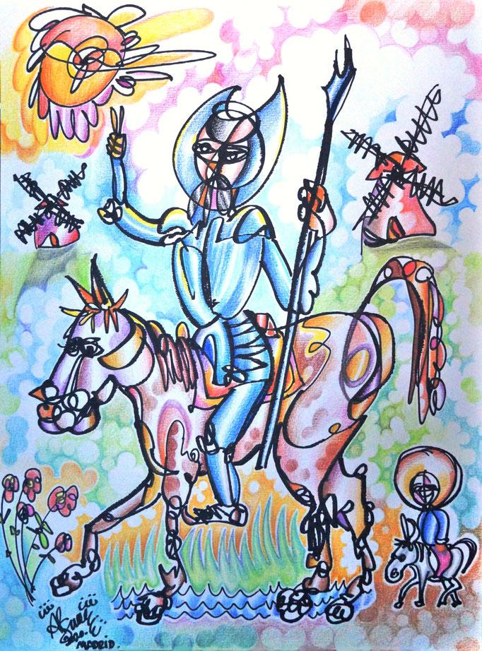 Don Quijote y Sancho en los molinos de viento/ Técnica mixta / 42 x 29, 7 cm / 2020