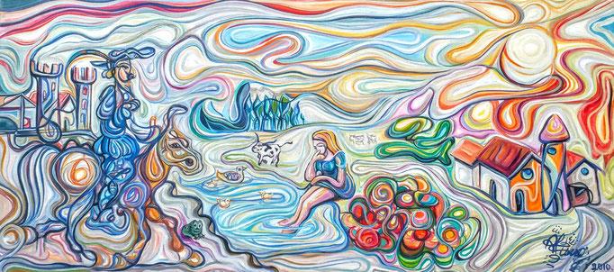 El príncipe y la pastorcita / Óleo sobre lienzo / 65 x 140 cm / 2011