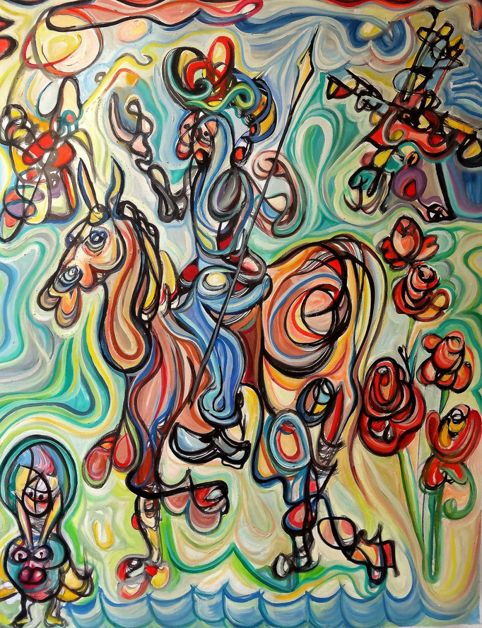 Don Quijote y Sancho en los molinos de viento / Óleo sobre lienzo / 65 x 50 cm / 2017
