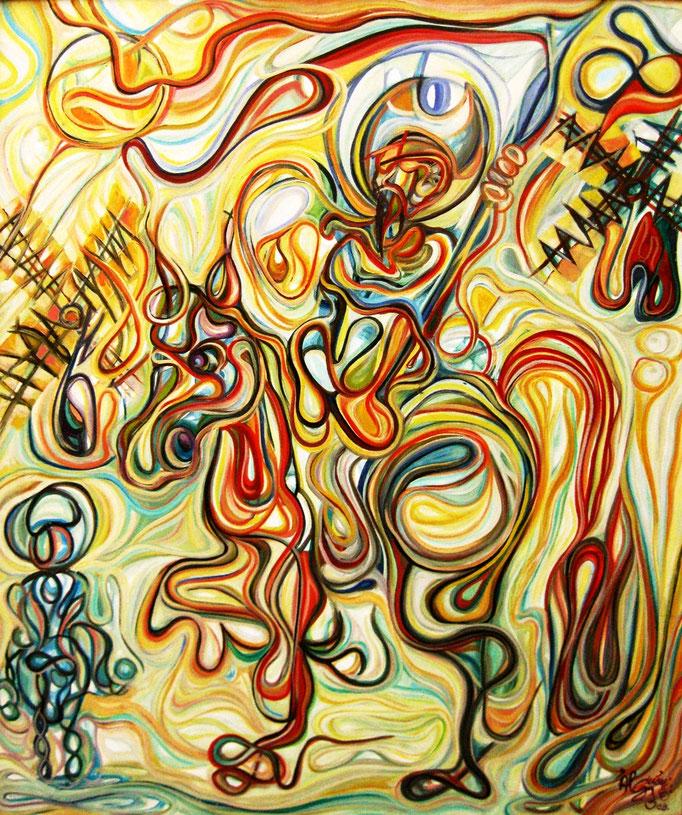 Don Quijote y Sancho / Óleo sobre lienzo / 120 x 100 cm / 2008
