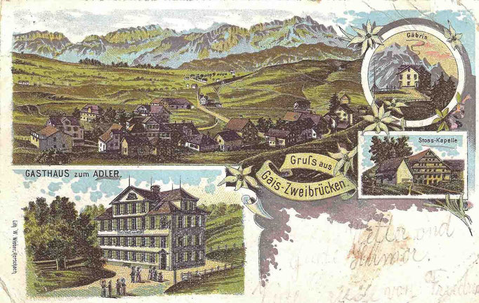 "GAIS - Postkarte mit Hotel ""Adler"""
