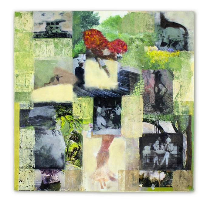 NOW  Es kann fast alles Tanz sein, man muss erst wieder etwas anderes lernen, dann kann man vielleicht wieder tanzen (Pina Bausch), Collage auf Leinwand60 cm x 60 cm
