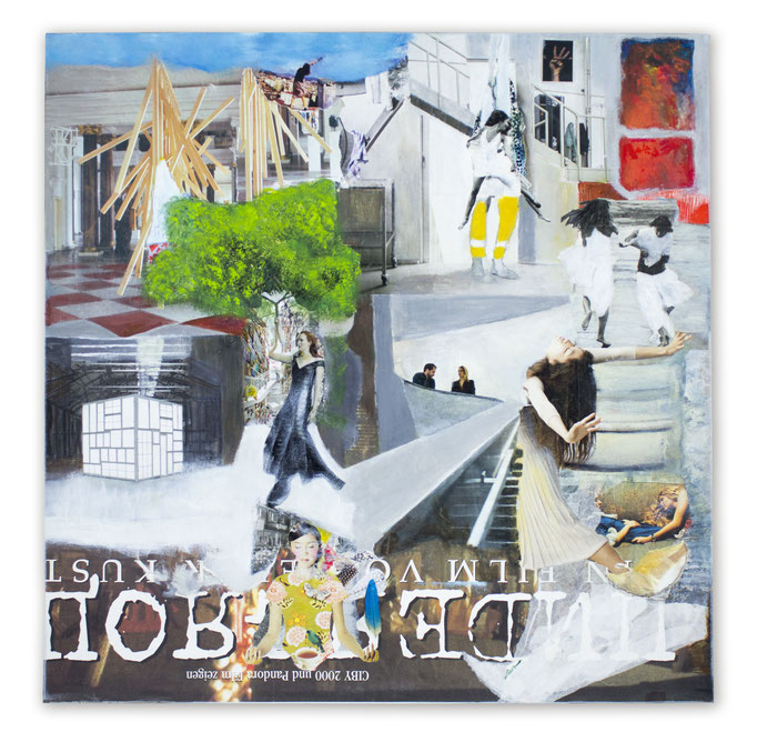 ROOMS TO GROW, Collage auf Leinwand 100 cm x 100 cm