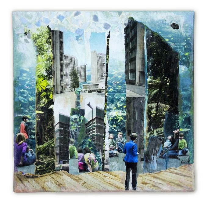 FUTURE Is this what we left ? Collage auf Leinwand 30 cm x 30 cm