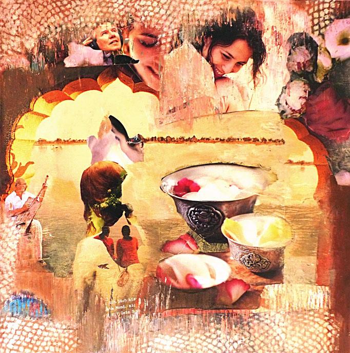 JOY, Collage auf Leinwand 50 cm x 50 cm/ VERKAUFT