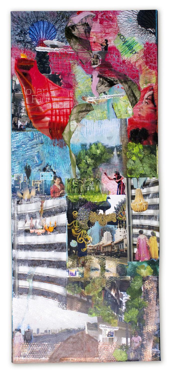 SINGAPORE  Collage auf Leinwand 120 cm x 50 cm/ VERKAUFT