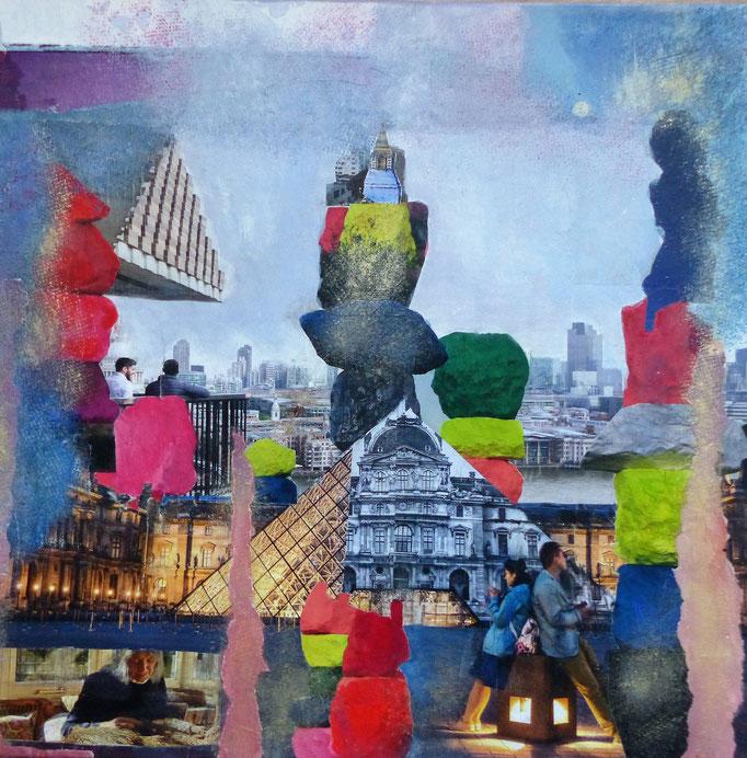 MAGIC STONES IN THE CITY Wie könnten Großstädte aussehen, wenn wir uns erinnern ?  Collage auf Leinwand 40cm x 40cm