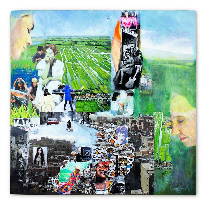 LIFE`S JOURNEY, Collage auf Leinwand 60 cmx 60 cm