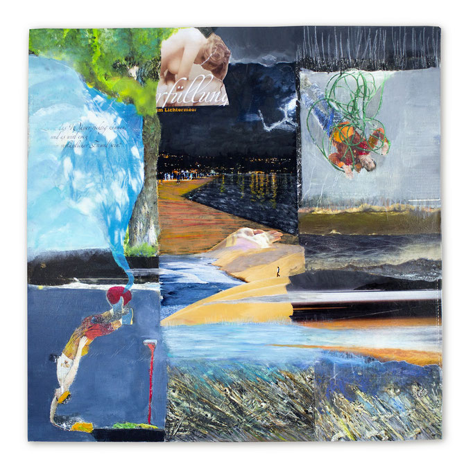 WATER Kill your worries and go to the water, Collage auf Leinwand 60 cm x 60cm