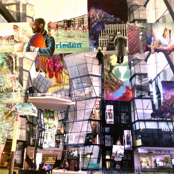 INSIDE OUT II , eine hommage an das Institute of Contemporary Art, Singapore, Collage auf Leinwand 100 cm x 100 cm mit Schattenfugenrahmen