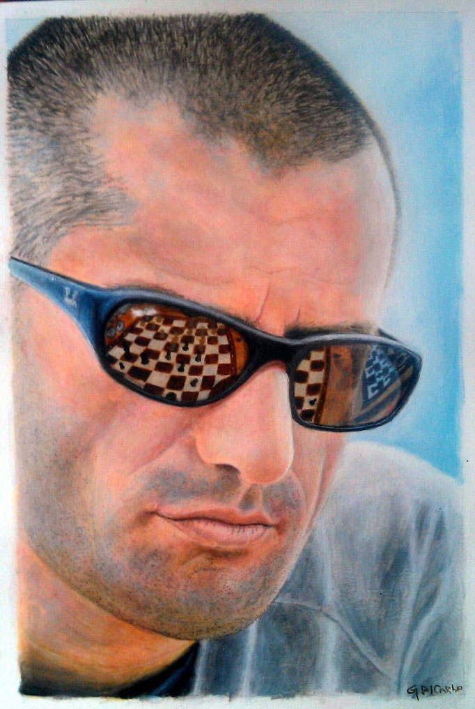 Checkmate, portrait of my brother, 1/4 imp size (38 x 28 cm) HP watercolor paper
