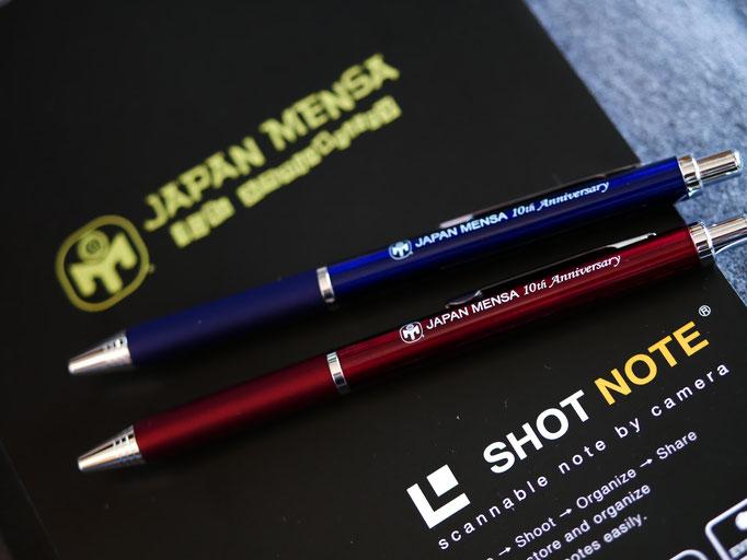 ジャパンメンサグッズ。JAPAN MENSA のボールペンとノート。