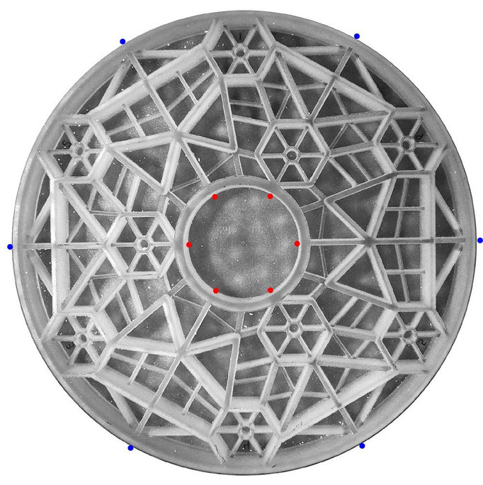 The Dream Cellular 620 mm mirror blank. Notice the three groups of hexagonal cells for flotation pads. Lateral support of the mirror can either be at the center of gravity level on the outer rim (blue dots) or at the COG at the inner rim (red dots).