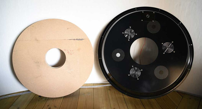 Left: Wooden model of the 62 cm primary. The central perforation is 15 cm diameter. Right: Backplate of the ASA truss tube. Note the three cooling fans and holes for three collimation screws.