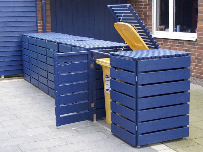 4er Mülltonnenbox / Mülltonnenverkleidung Holz 240 L, Oberfläche: Royal Blau