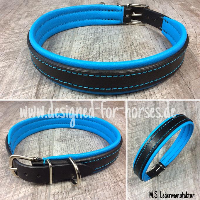 Hundehalsband mit Schnalle aus Leder nach Maß. Schwarz - Leuchtblau