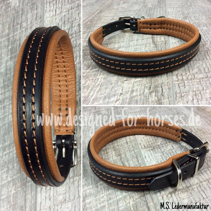 Hundehalsband mit Schnalle aus Leder nach Maß. Schwarz - Caramel