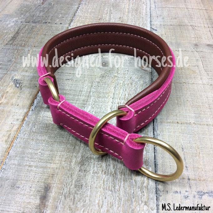 Hundehalsband Zugstopp aus Leder (Pink)