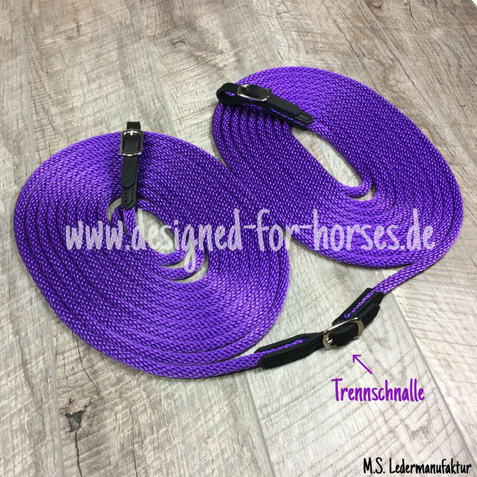Doppellonge in Lila aus PPM Seil mit Trennschnalle aus schwarzem Fettleder. 12mm dick