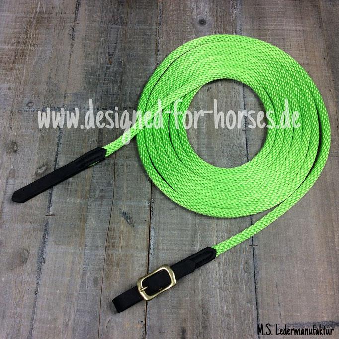 Kurzlonge in Neongrün (Seil), Schnalle mit schwarzem Fettleder eingenäht