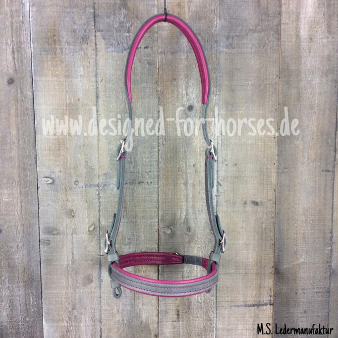 Trense nach Maß in Grau und Pink / Magenta