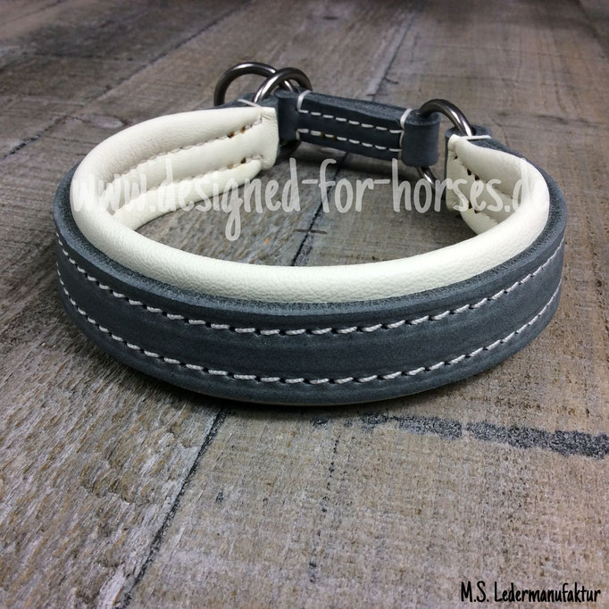 Zugstopp Halsband aus Fettleder Grau, Weiß