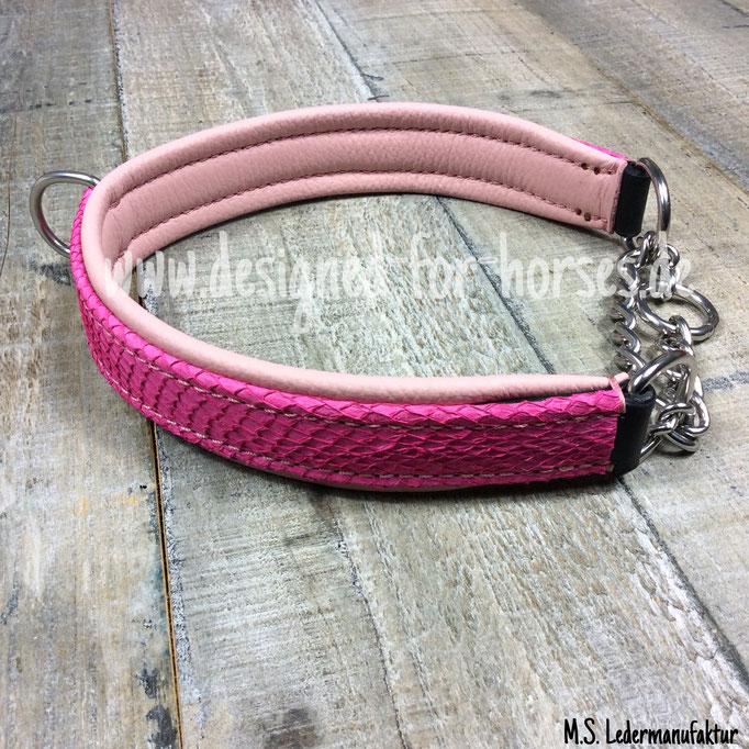 Zugstopp Hundehalsband mit Fischleder Pink
